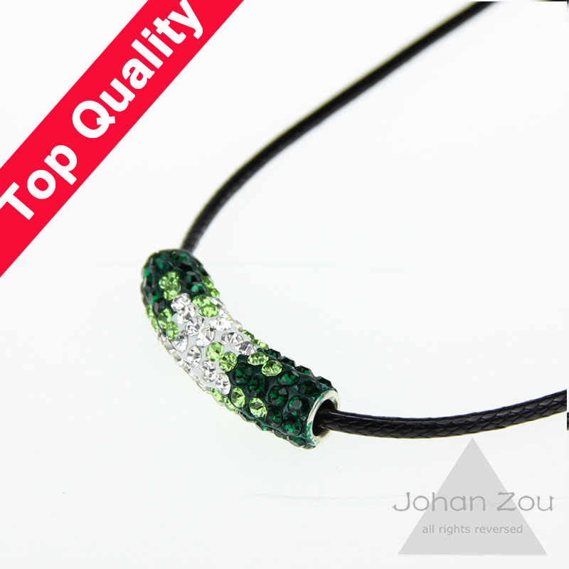 Free Shipping Gift giving gradient color Clay Disco Pave Long Crystal Shamballa Tube Bending Beads Bracelet necklace bijouterie()