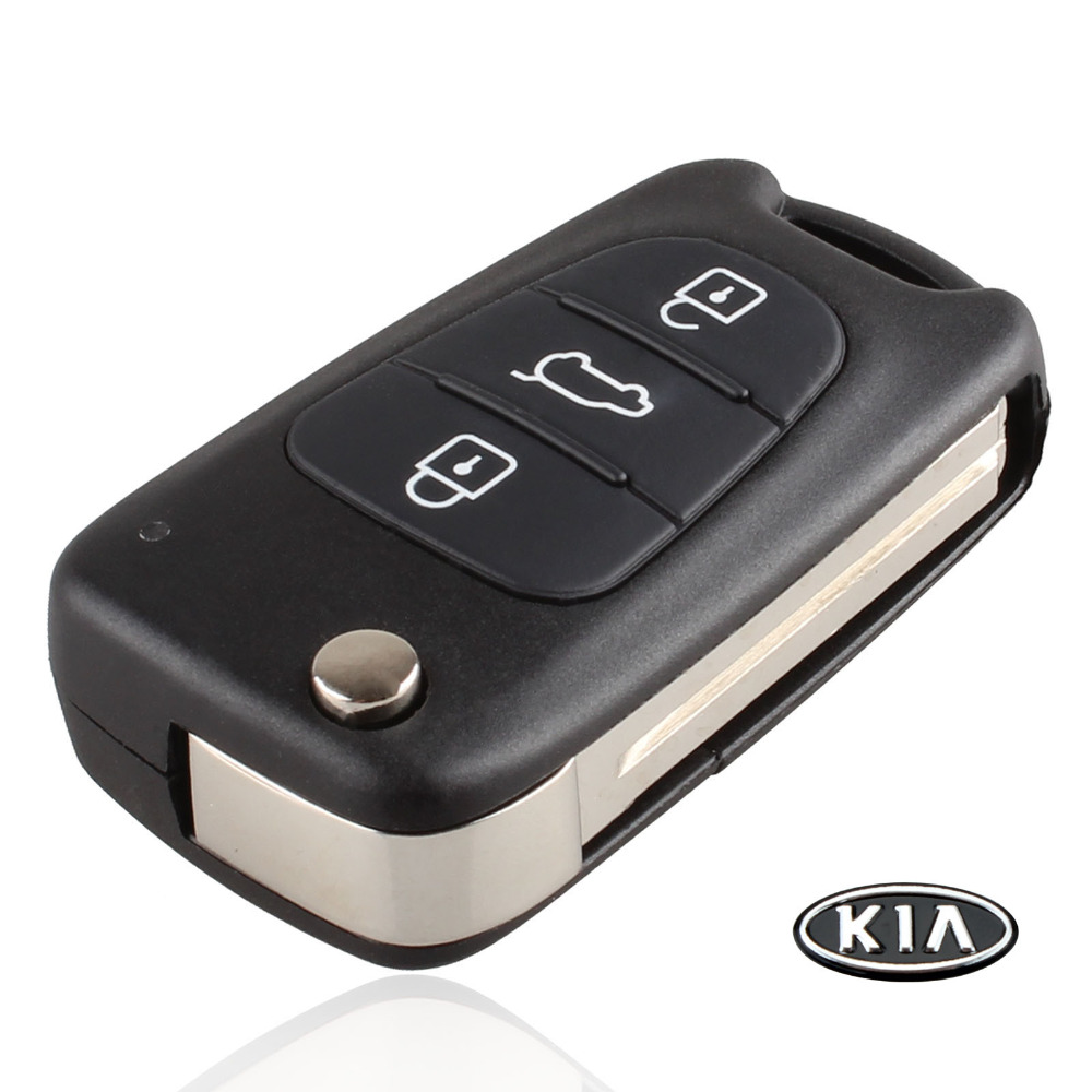 Uncut Blade 3 Buttons Flip Remote Key Shell For Kia K2 K5 HYUNDAI KIA Car Keys Blank Case Cover With Kia LOGO(China (Mainland))
