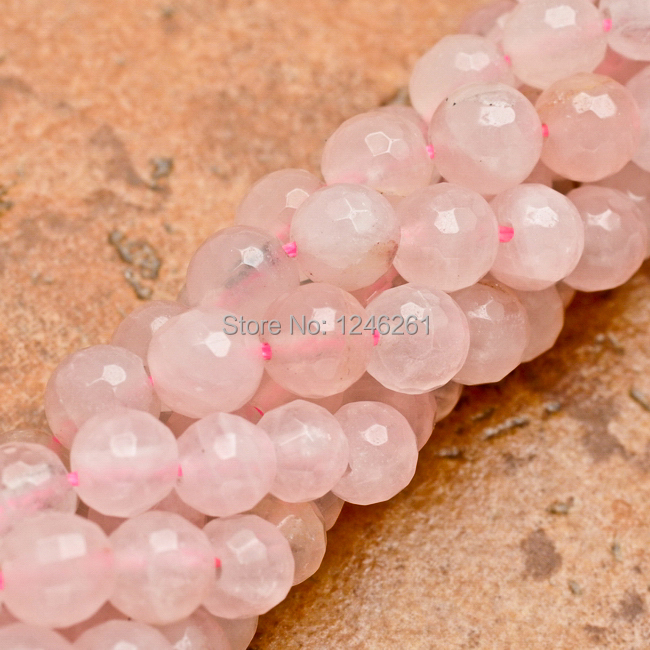 """Trendy 6MM Natural Rose Quartz Jade Faceted Round Loose Beads Strand Fashion Jewelry Semi-Precious Natural Stone 15"""" """"Wholesale(China (Mainland))"""