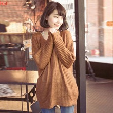 2016 Knitted Pullovers Ladies Winter Sweater Dress Women Korean Style Loose Round Neck Slim Knit Sweaters SV029358(China (Mainland))