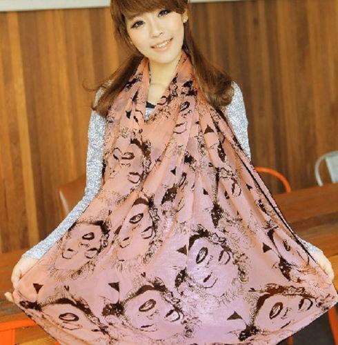 1 шт. женщины мэрилин монро граффити дикий шифон шаль шарф bufandas розовый белый розовый бежевый