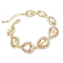 Fine Jewelry Teardrop Gold Crystal Wedding Bracelet Gold Faceted Charm Bracelet for Women Beads Bracelet Accessories brtj71(China (Mainland))