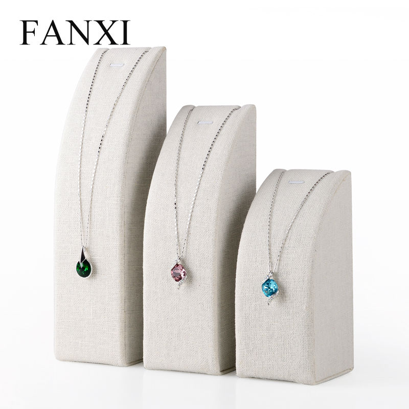FANXI Free Shipping Custom Fashion Jewellery Display stands set for Necklace and Pendants Beige Linen Necklace holder Exhibitor от Aliexpress INT