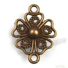 Flowers Shape Connector In Stock Antique Bronze Plated Charms Pendant Zinc Alloy 20*15*3mm Fit Necklace Handcraft 141237(China (Mainland))