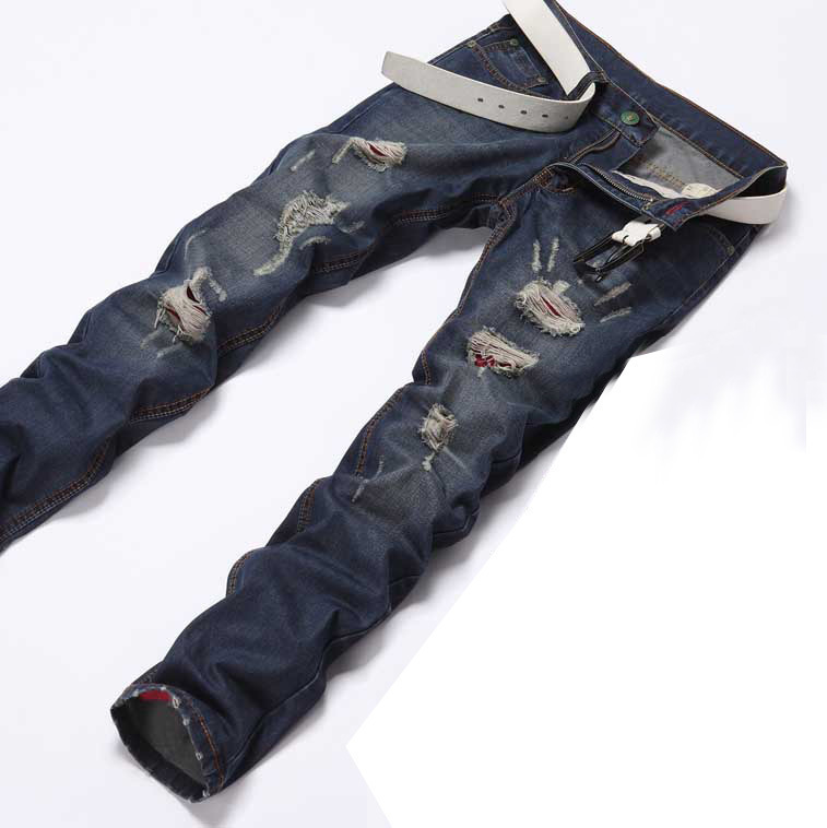 fashion brand designer denim pants and ripped destroyed jeans men men skinny jeans(China (Mainland))