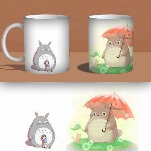 2016 New Totoro Coffee Cup Hot Changing Color Change Mug Heat Reactive Ceramic Milk Tea Mugs 10.5(China (Mainland))