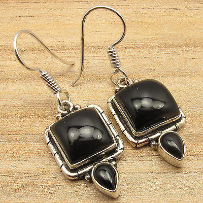 BLACK ONYX Gems Handmade Indian Jewellers Ethnic Style Earrings Silver Plate(China (Mainland))