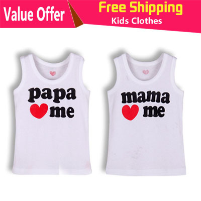 Hot Sale Retail I Love Papa Mama Baby sleeveless T shirt girls boys children Clothes for