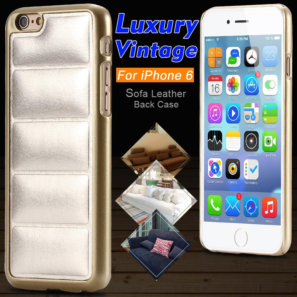 Super Luxury Soft Sofa Leather Case For Iphone 6 4.7inch Crazy Horse Leather Back Cover For Iphone6 Case PC Gold Frame Edge(China (Mainland))