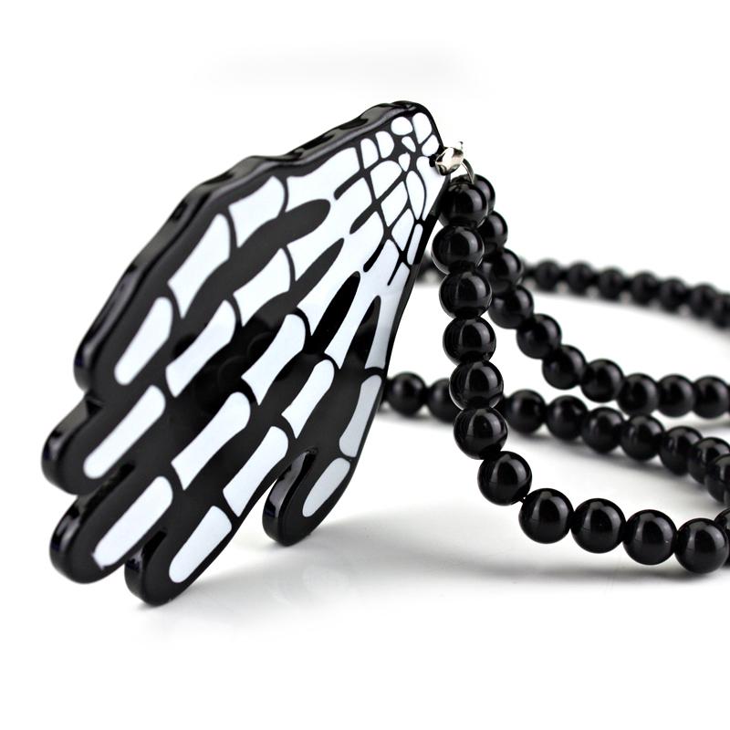 Hand Bones Skeleton Badge Hip Hop Car Fashion Pendant Car-Styling JDM Interior Rearview Mirror Ornament Beads Hellaflush Charm(China (Mainland))
