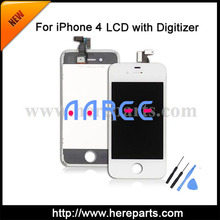 5pcs/set + Free shippig +Tools  LCD digitizer with frame  for iPhone 4  Replacement White / Black