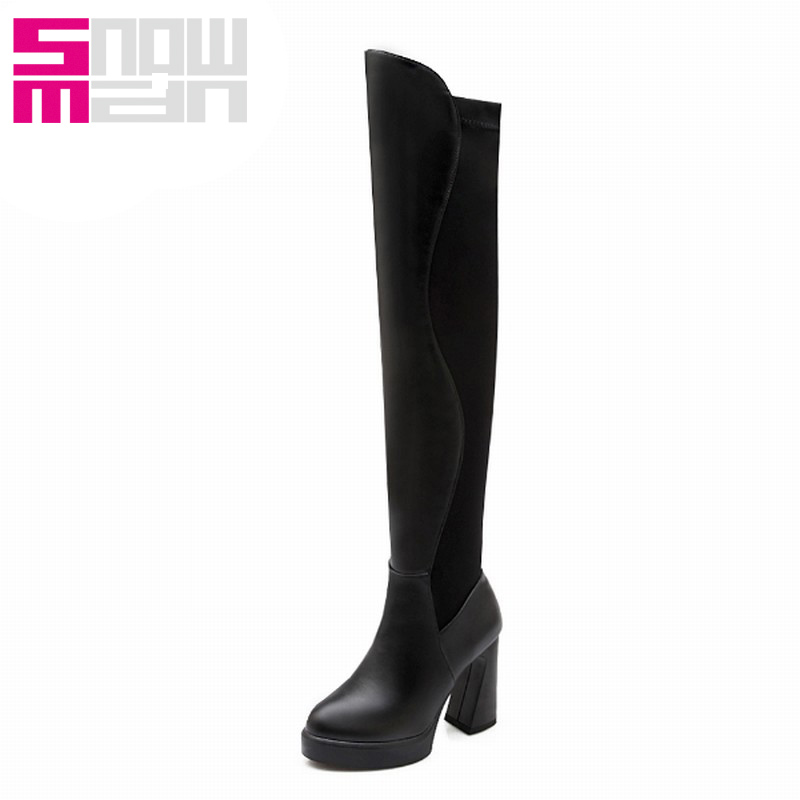 Lady's Slim Long Boots High Quality Patchwork Over the Knee Boots All-match Sexy Hoof High Heels Platform Winter Boots