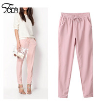 New fashion brand ladies trousers long casual pants Pure color elastic Chiffon pants leisure  trousers AB17(China (Mainland))
