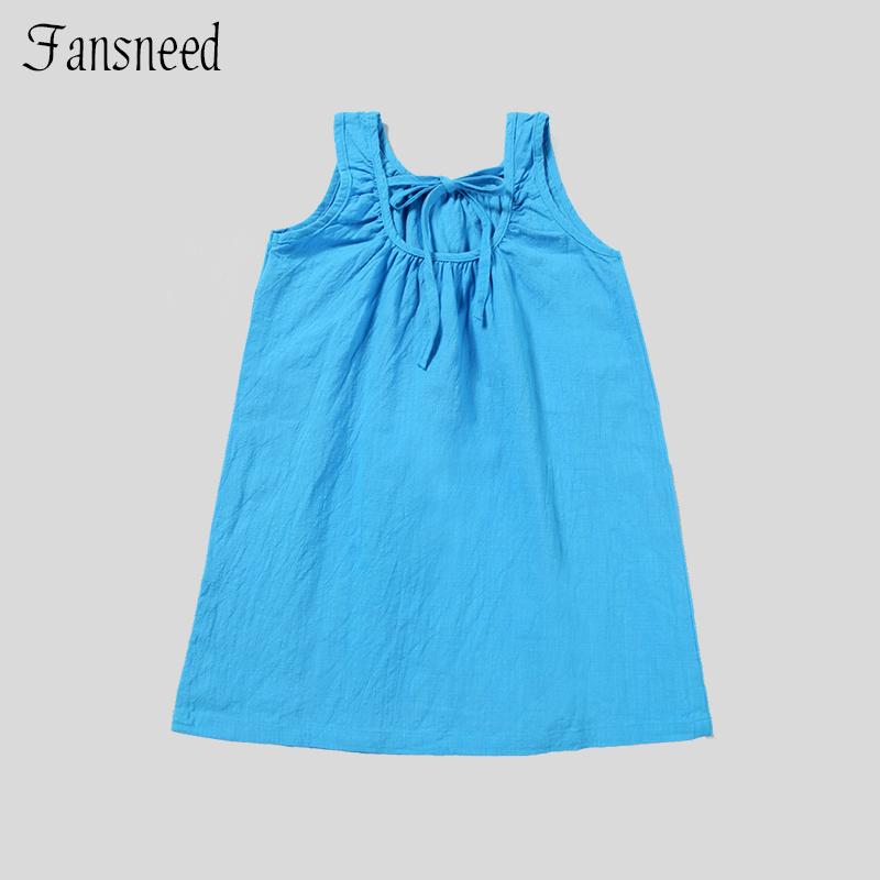 2016 new summer dress Girls summer cotton vest dress big virgin girls seaside beach dress(China (Mainland))