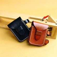 handmade lighter holder mens Vintage top grain leather cigarette case pouch bag(China (Mainland))