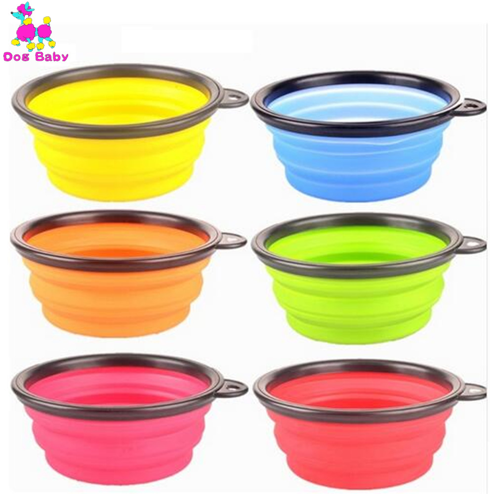New Six Colors Available Dogs Feeders Pet Silica Gel Bowl Puppy Folding Portable Bowls For Dogs & Cats Easy Clean Top Selling(China (Mainland))