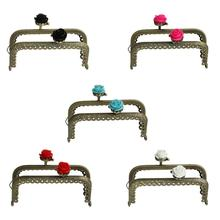 Metal Frame Kiss Clasp Arch For Purse Bag Antique Bronze Mixed Resin Flower 8.6x6.3cm(Open Size:11.5x8.6cm),5PCs 2015 new(China (Mainland))