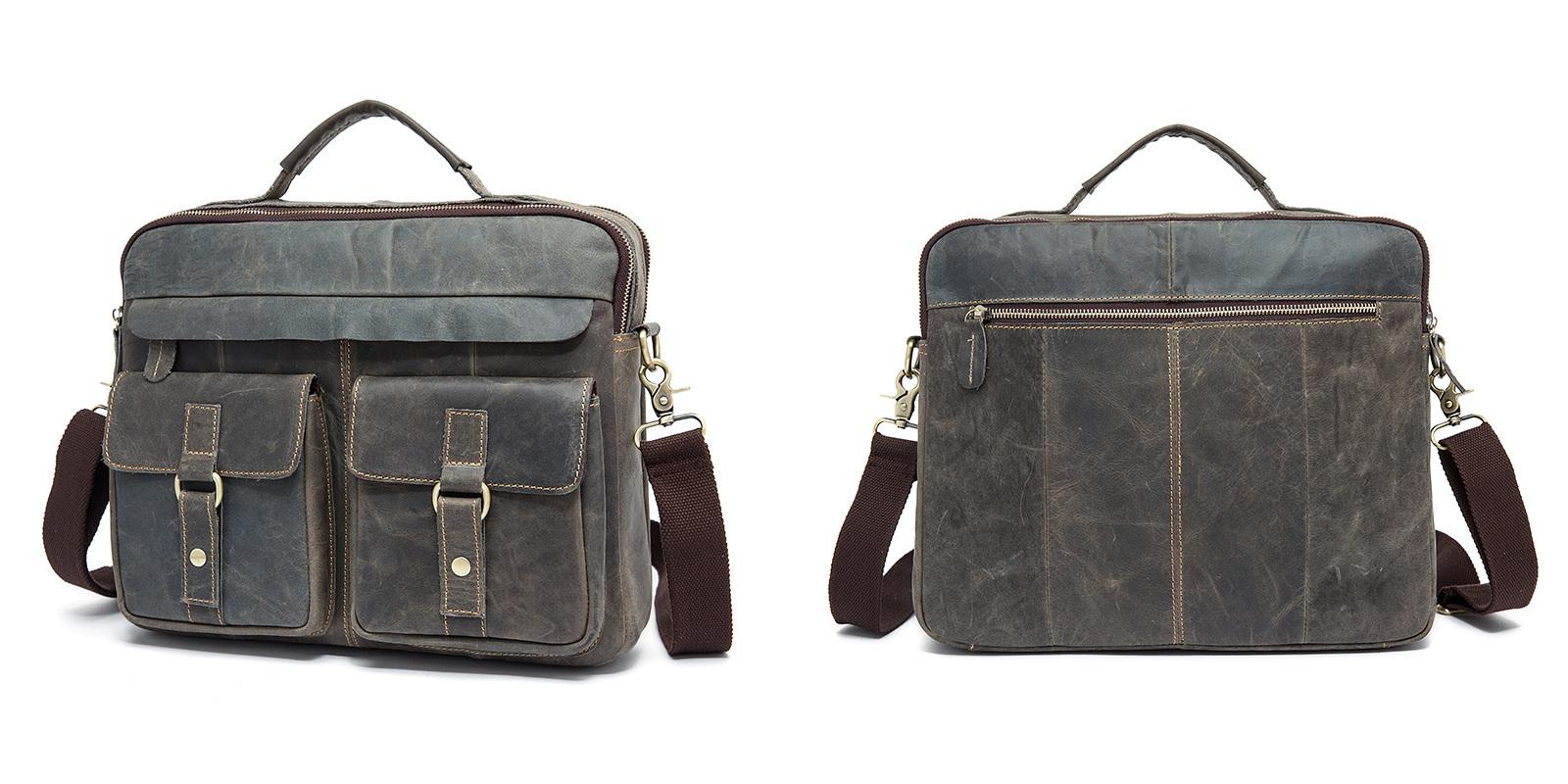 2016 New Genuine Leather Men Messenger Bag Men's Crazy Horse Leather Handbag Casual Business Laptop Shoulder Bags Briefcase Tote