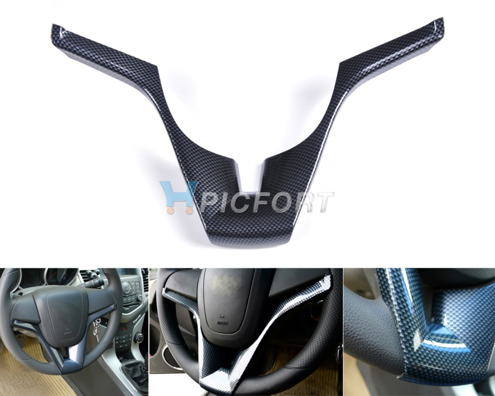 Free shipping & Tracking # Real Carbon Fiber Steering Wheel trim for Chevrolet Cruze 2008 2009 2010 2011 2012 - CA00487(China (Mainland))