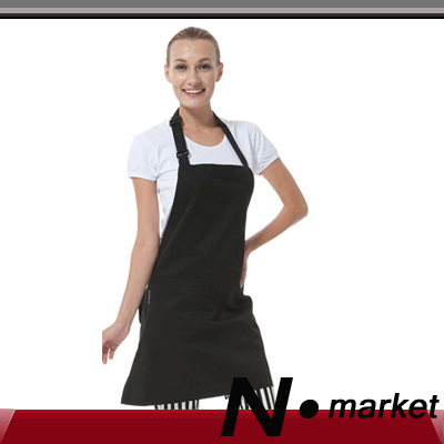 Pure Black Cotton Kitchen Apron For Women Men Smart Long Halter Chef Apron in aprons(China (Mainland))