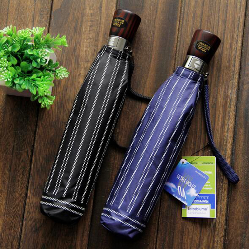 High Quality Big Size Business Men Automatic Folding Umbrella Strip Pattern Dark Blue/Black Windproof Parasol Rain Umbrellas(China (Mainland))