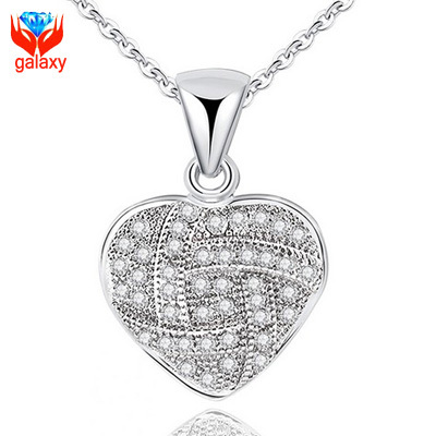Romantic 925 Sterling Silver Heart Necklaces Pendants Micro CZ Paved Necklace for Women Jewelry Valentines Birthday Gift ZN009(China (Mainland))