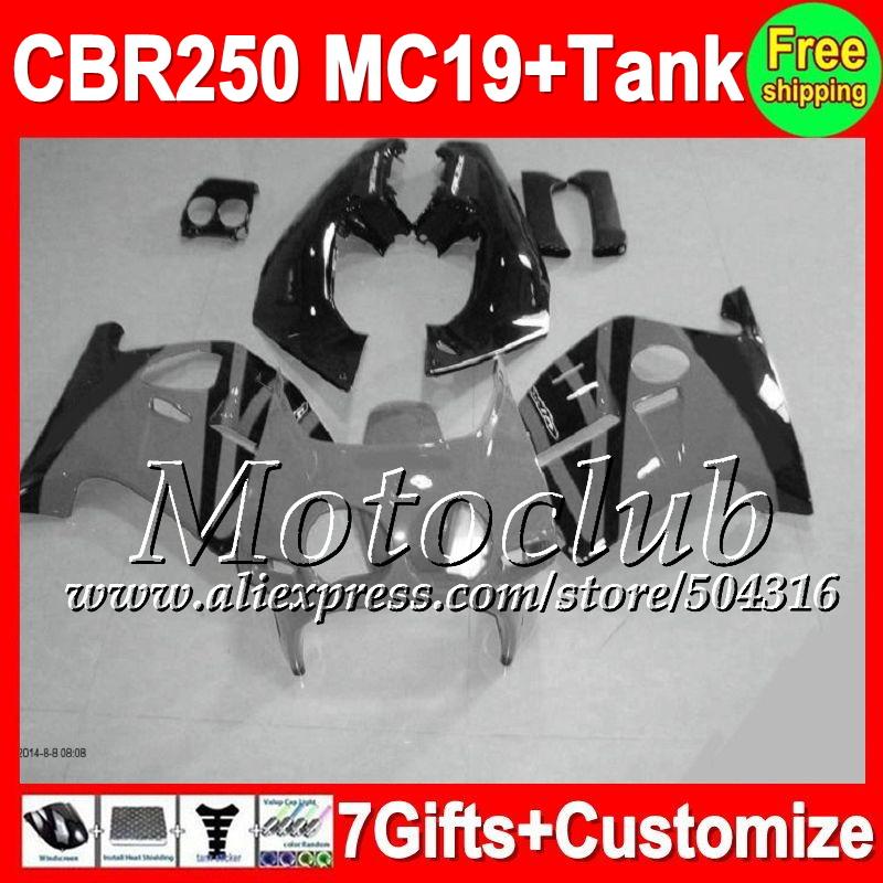 7gifts+Tank HONDA MC19 CBR250RR 1986 1987 1988 1989 Grey black 9C149 CBR 250RR CBR250 RR 86 87 grey 88 89 Fairings  -  Motoclub store