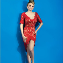 Half Sleeve Red Lace Cocktail Dresses V Neck Sheath Custom Made Sexy Womens Party Backless Evening Party Special Occasion Gowns