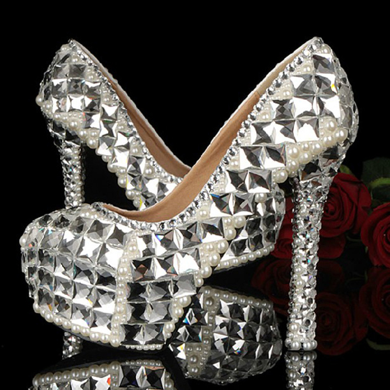Sparkling Bridal Wedding Shoes High Heel Crystal Rhinestone Bride Banquet Evening Party Handmade Dress - Top Seller Service store