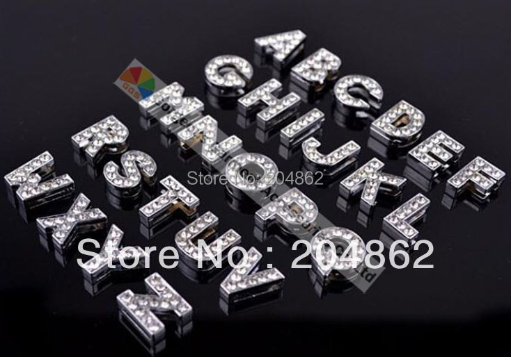 (Free Shipping) 26pcs/lot 10mm rhinestone slide letter,crystal letter,slide alphabet from A to Z in gold or sliver(China (Mainland))