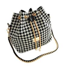women bag New 2015 Women Handbag National Trend Bohemia Style Print Chain Drawstring Bucket Bag Women