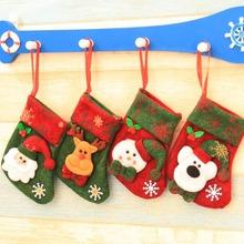 Xmas Ornaments Socks Santa Christmas Claus Plush Candy Gift Bags Hanger Xmas Socks KT0686(China (Mainland))
