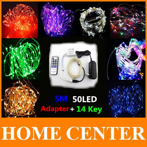 12V 5M 50 LED Sliver Wire LED Starry lights 16.4Ft LED String Lights + Power Adapter+Remote Controller Waterproof For Decoration(China (Mainland))