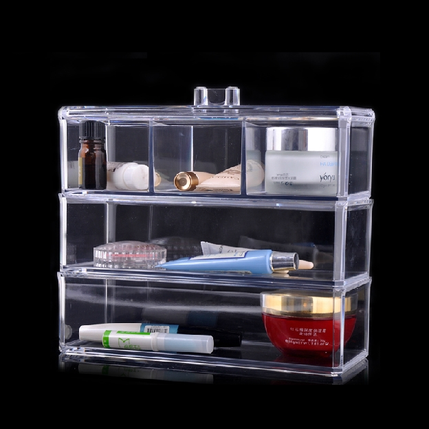 Multilayer transparent acrylic cover cosmetic finishing the desktop storage box storage box covered dust 1173(China (Mainland))