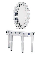 Beveled mirror furniture design console table with 3D oval mirror(China (Mainland))