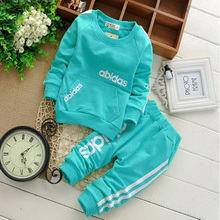 2015 cotton clothing set T shirt pants 2 piece set suit wear in sport vestidos kids