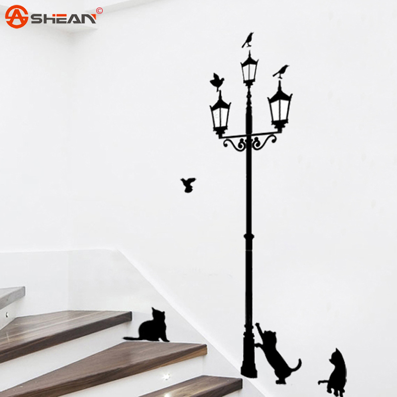 Cartoon Cats Under the Street Light Warm Romantic DIY Wall Stickers Kids Bedroom Living Room Home Decor Mural Decal