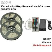 10M 5050 RGB Led Strip Ip65 waterproof 30Leds/m Flexible Light DC12V Home Decoration Lighting+44 Keys IR Remore Controller - Bosan's Smart World store