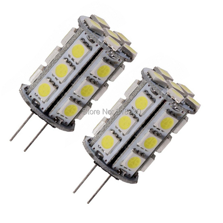 2PCS Led G4 5050 W5W 24 SMD 24 Led 12V DC Home Light Warm White Cool White DC 12V RV Marine Boat Camper Light Bulb(China (Mainland))