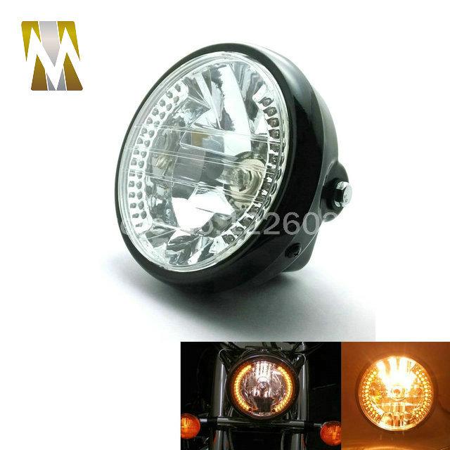 Motorcycle assemble HeadLight head lamp 6 1/2 '' Amber 35W 3000K Round Headlight With Turn Signals High Low Beam Headlight(China (Mainland))