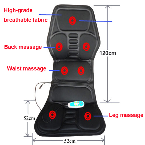 Heated Back Massage Seat Topper Car Home Office Seat Massager Heat Vibrate Cushion Back Neck Chair Car Pain + An Plug-Adapter(China (Mainland))