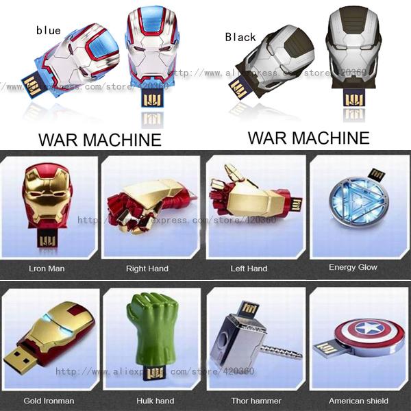 New Avengers LED light Iron man heads Usb 2.0 memory flash stick pen drive/gift/car/disk(China (Mainland))