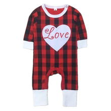 2017 New Arrived Baby Girls Valentine's Day Rompers Girl Boy Spring Jumpsuit Toddler Fashion Red Plaid Pajamas Free Shipping 30F(China (Mainland))