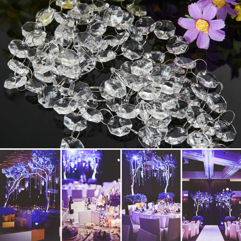 33ft crystal clear acrylic bead garland chandelier hanging for Plastic chandeliers for parties