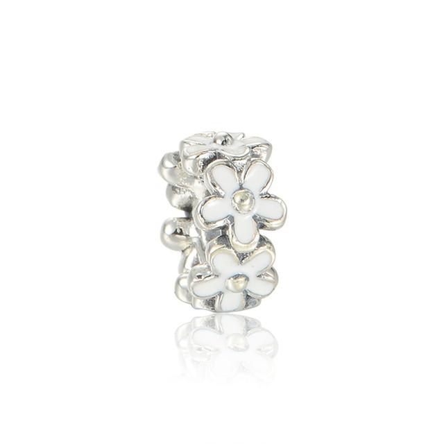Чистый 925-Sterling-Silver дейзи прокладка серебро бусины белой эмалью подходит пандора браслет DIY женщины ювелирных изделий