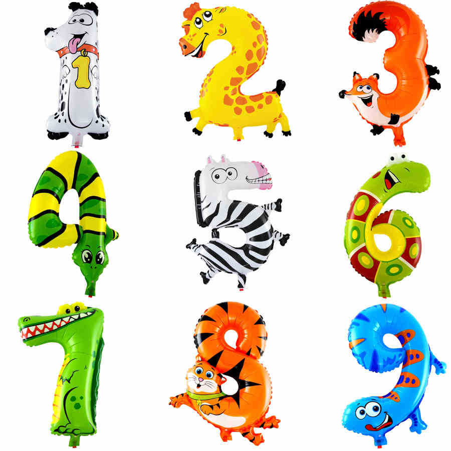1PCS 16inch 2015 Animal Number Foil Balloons Kids Party Decoration Happy Birthday Wedding Decoration Ballon Gift