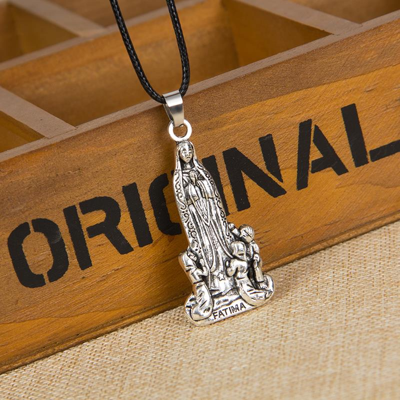 Virgin Mary Necklace Men Women Christmas Gift Trendy Retro /  silver Plated Vintage Cross Jesus Leather cord Pendant Necklace <br><br>Aliexpress