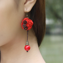 New Original  Chiness knots vintage earrings red, handmade coconut dangle earrings , olf fashined Ethnic jewelry earrings(China (Mainland))