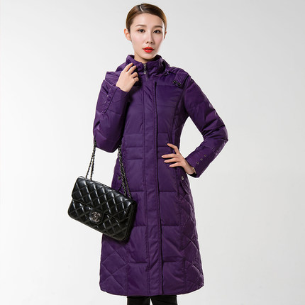 Фотография Women X-Long Down Coat Slim Long Length Down Jacket Coat Winter Warm Windbreaker Parka Female H5529