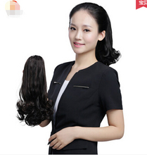 Wig horsetail Girl long fluffy horsetail realistic big wave hair clip long vacation in the tail of a horse